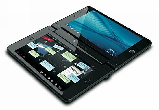 Первый мини-компьютер Hands-on Toshiba Libretto W100 с двойным экраном
