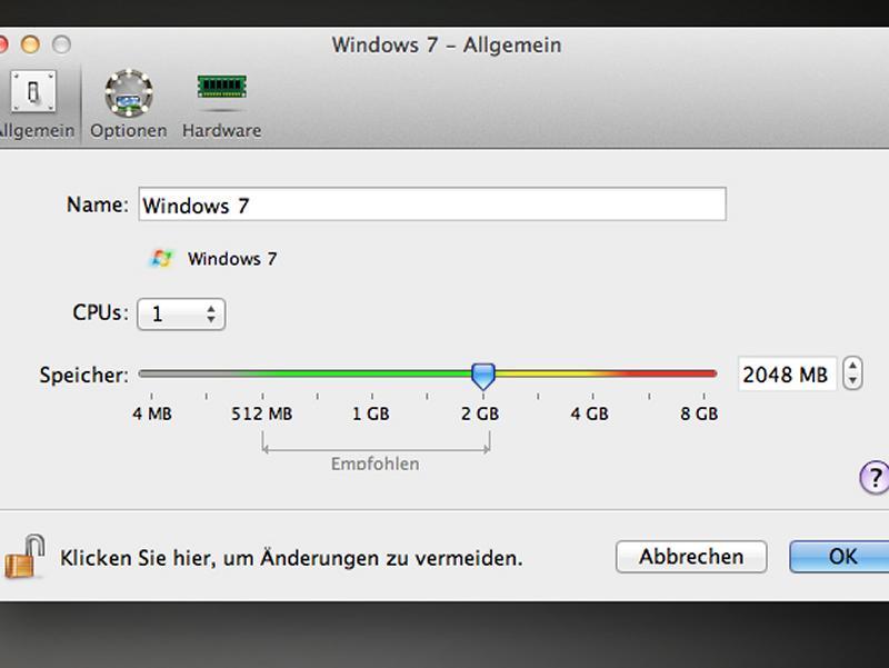 [AppleFieber] Windows unter Apple Mac OSX: Mehr Speicher für virtuelle Maschine Parallels