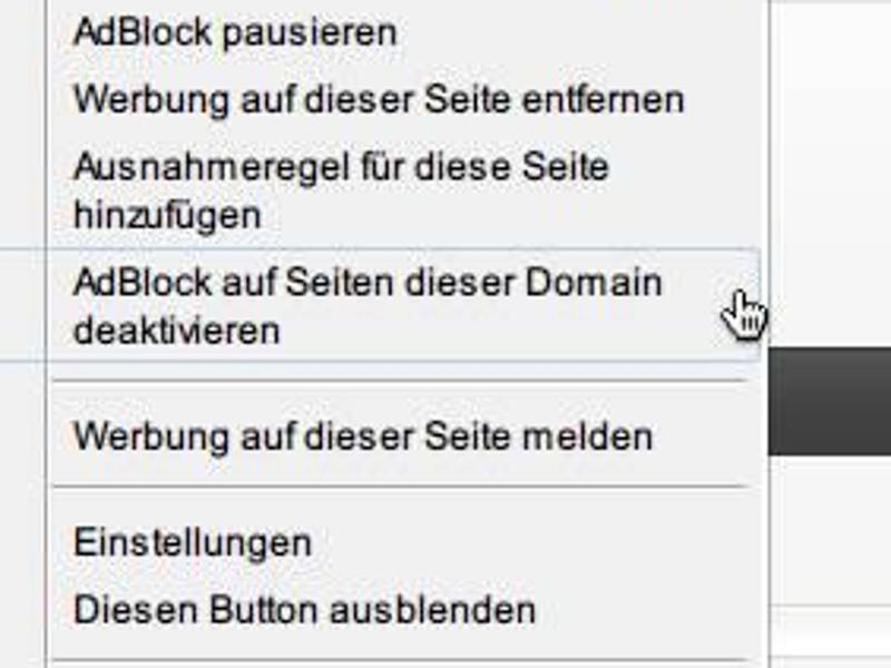AdBlock: Web | Internet-Seiten von Werbefilterung ausschließen