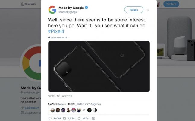 Google Pixel 4  Smartphone setzt auf Dual-Kamera-Technik