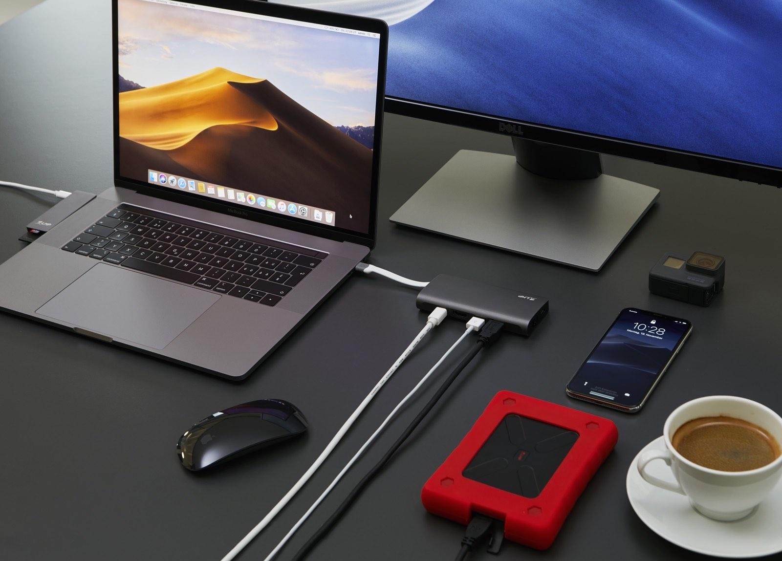 Das USB-C Travel Dock bietet viele Anschlussmöglichkeiten für Laptops wie das MacBook Pro